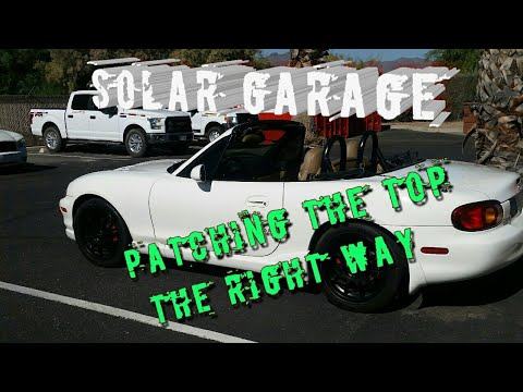 Solar Garage: Patching the top using a commercial patch kit instead of homemade