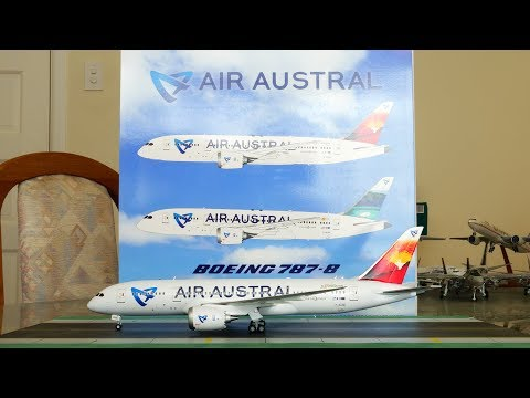 "JC Wings 1:200 Air Austral 787-8 Dreamliner ""Volcano Tail"" livery Unboxing & Review [4K]"