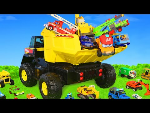 Truck with Surprise Toys: Excavator, Crane, Cars, Concrete Mixer & other Toy Vehicles for Kids