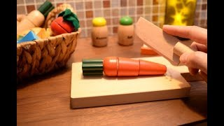 【ASMR】Wooden Toys Cutting Food Education videos ーPlaying house of Japanese food set