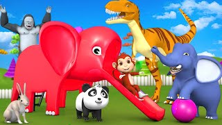 Giant Elephant Slider Game Ride with Gorilla Monkey 3D Animal Comedy Videos Funny Animal Cartoons