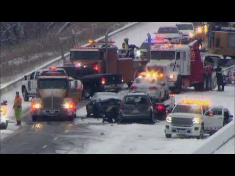 Blown truck tire closed westbound 401 in Chatham-Kent