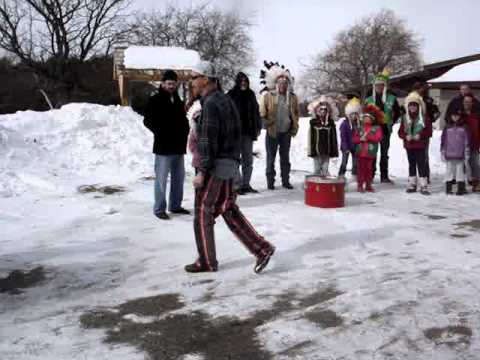 Winter Campout at Camp Matawa  Pawnee Tribe song performance of The Pants on the Ground
