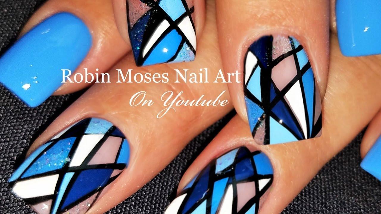 Geometric Stripe Nails | Diamond Blue Nail Art Design Tutorial ...