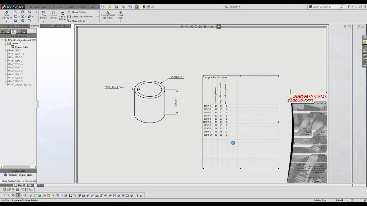 Design Table Solidworks How To Show Design Table In Drawing In Solidworks - Youtube