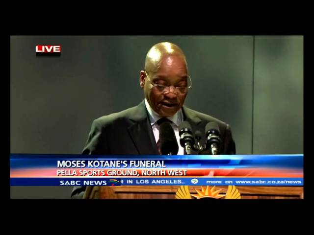 Former South African president Jacob Zuma paying tribute to Moses Kotane.