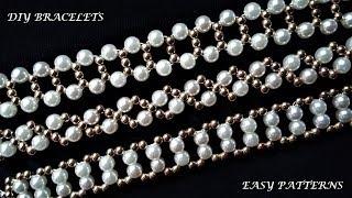 3 Beaded Bracelets-3 Beading Designs. How to make Bracelets. Easy tutorial