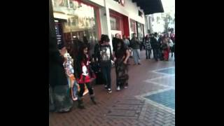 Paige dancing with Indians in Birmingham city centre