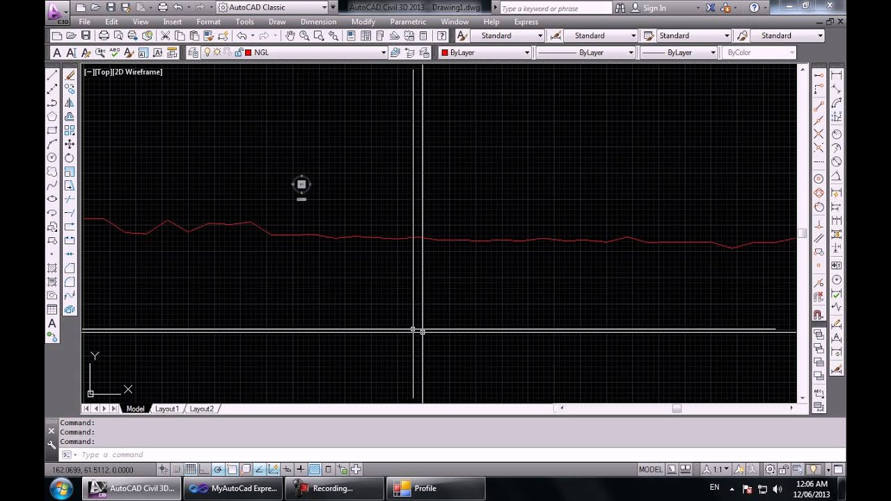 Drawing Lines With Vb Net : Drawing surface profile using autocad vb youtube