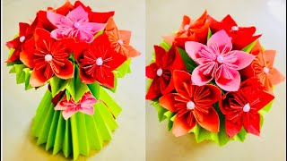 DIY how to make paper flower bouquet/ flower bouquet from paper/teacher's day gift ideas/teacher day