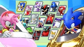 Team Sonic Racing All Characters Unlocked and Sonic Legendary Golden Kart