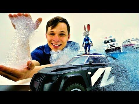 Детское видео. Фёдор и ПЕННАЯ Ловушка для Полицейской #МАШИНЫ Джуди Хопс 🚓! Игры Гонки для мальчиков