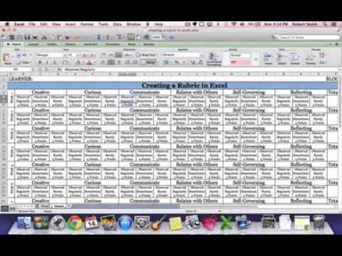Create A Basic Rubric In Excel Step 6 Youtube Template