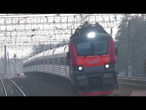 Электровоз ЭП20-023 с поездом№740А Брянск-Москва станция Толстопальцево 11.04.2019