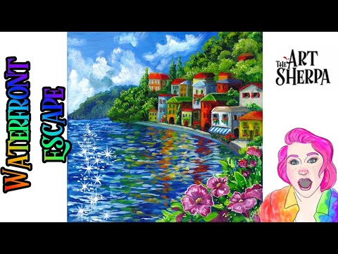 How to paint a Lake Como Waterfront Colorful Village | TheArtSherpa