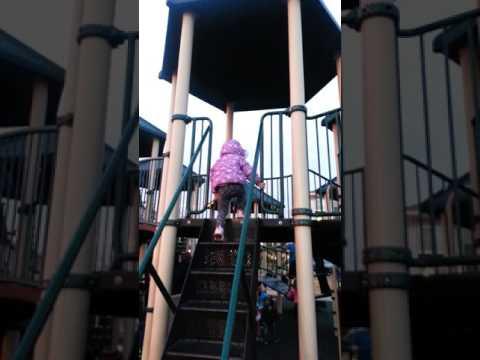 Meo-Meo fun playing slide at park