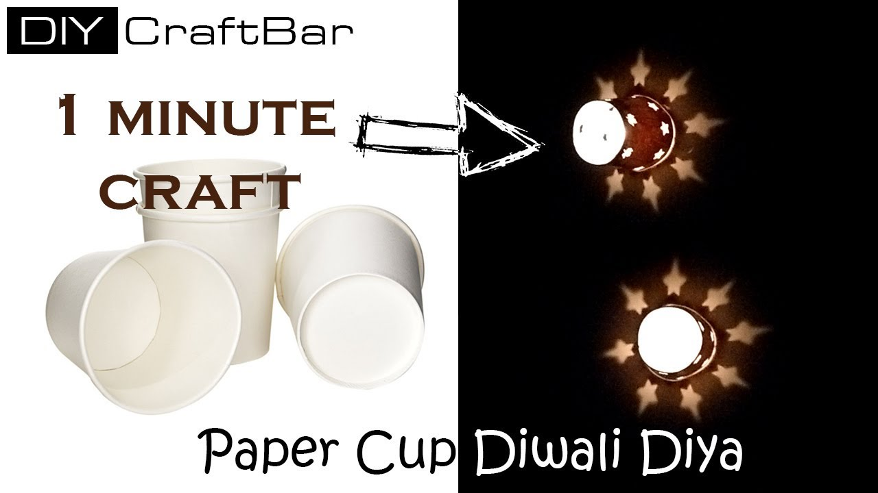 1 Minute Craft at Home || Paper Cup Diwali Diya Decoration || Paper ...