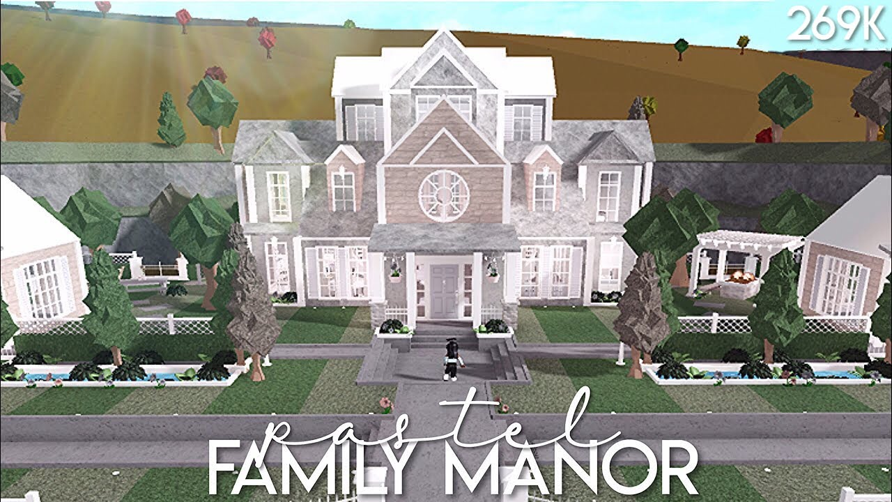 Bloxburg: Pastel Family Manor   Speed Build - YouTube