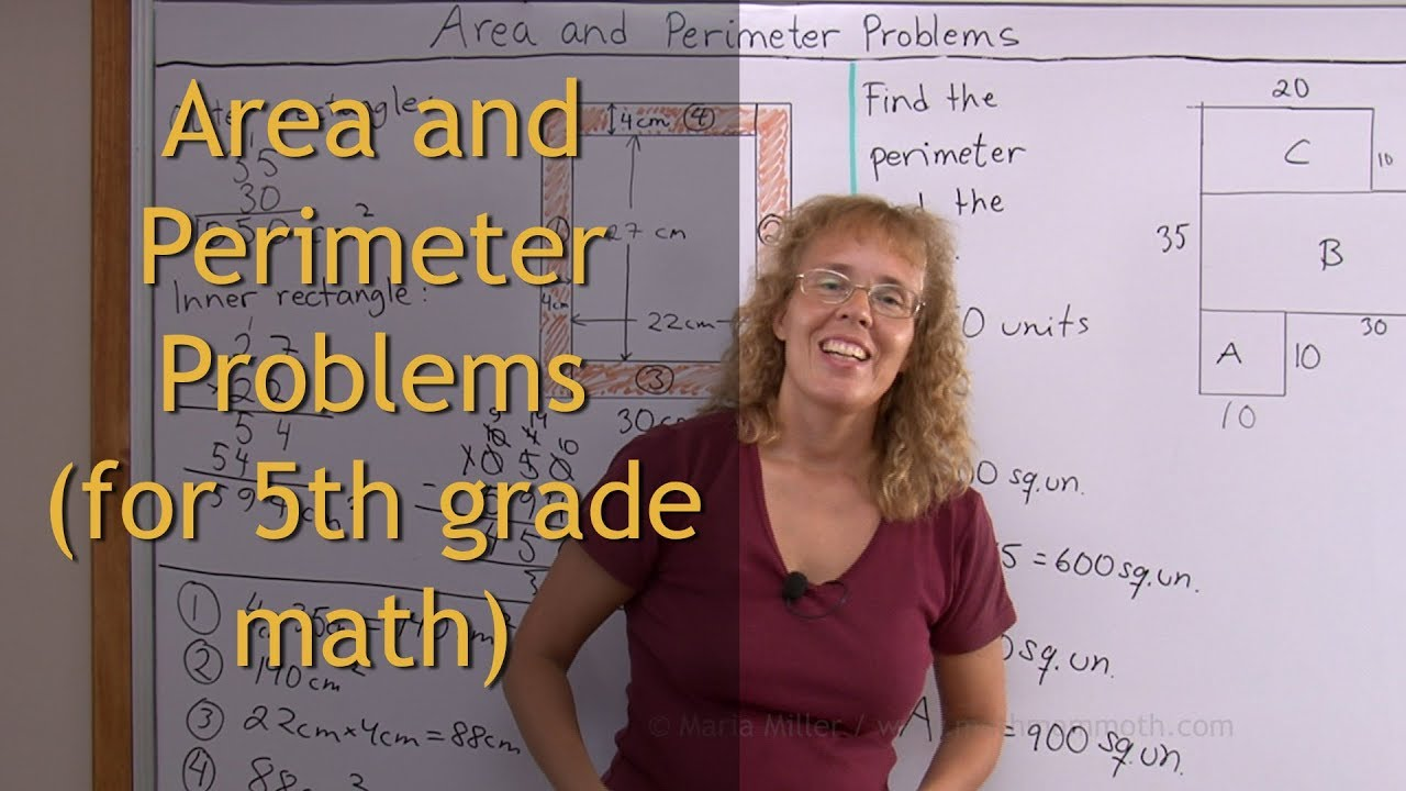 Area and perimeter problems (5th grade math) - YouTube [ 720 x 1280 Pixel ]