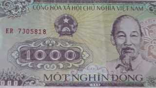 The 1.000 Mot Nghin Dong banknote of Vietnam from 1988
