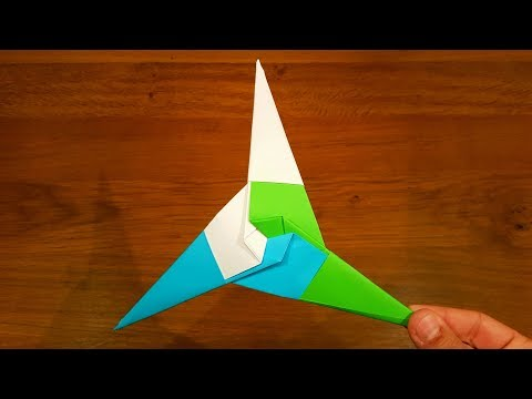 How To Make a Paper Three Pointed Ninja Star (Shuriken) - Origami