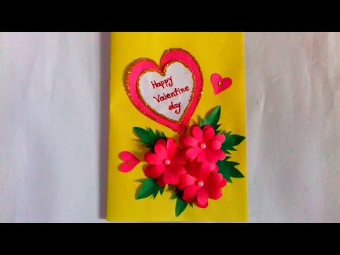Valentine day card. DIY /craft idea. Beautiful and easy handmade of colour paper. Gift items.