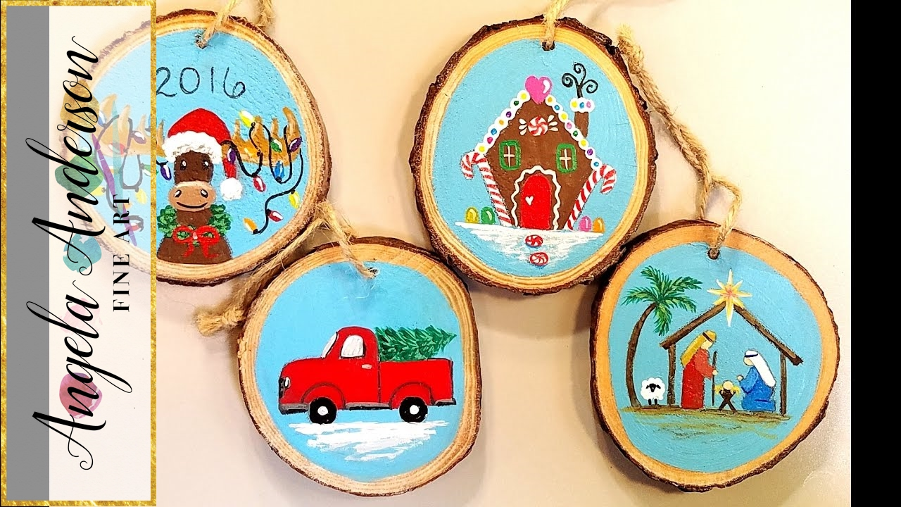 Wooden Christmas Ornaments Acrylic Painting Tutorial Gingerbread House Moose Truck Manger Live