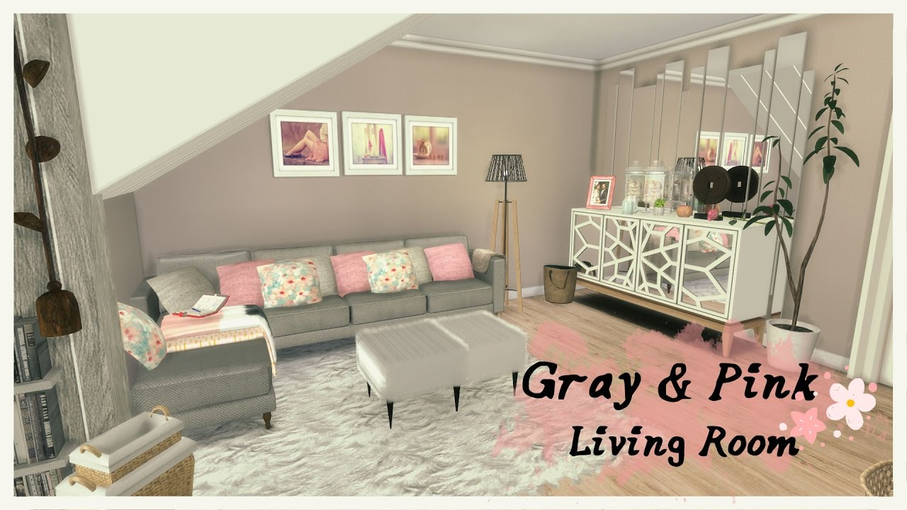 Sims 4 - Gray & Pink Living Room (Room + Mods for download) - YouTube