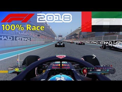 F1 2018 - 100% Race @ Yas Marina Circuit, Abu Dhabi in Ricciardo's Red Bull
