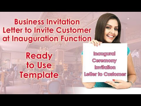 Business Invitation Letter To Customer At Any Inauguration Function