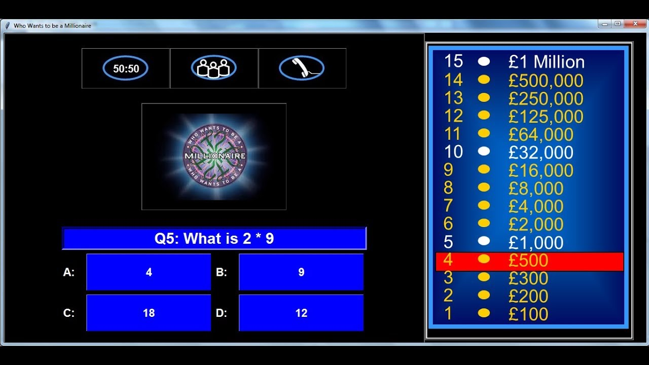 How to Create Who Wants To Be A Millionaire Game in Python - Full Tutorial