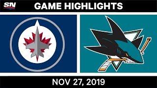 NHL Highlights   Jets vs. Sharks – Nov. 27, 2019