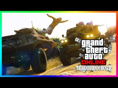GTA ONLINE GUNRUNNING DLC UNLOCKING ALL SECRET ITEMS, BUNKER MONEY MAKING & NEW VEHICLE MISSIONS!