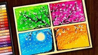 How to Draw COLORED FLOWER TREE / Spring / Oil Pastels