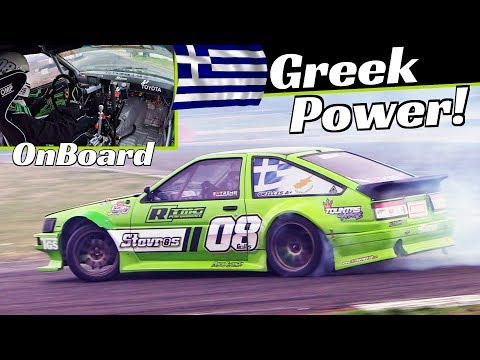 Young Greek Drifter Stavros Grillis And His 650HP 2AZ-FE Turbo Toyota Corolla AE86, Action + OnBoard