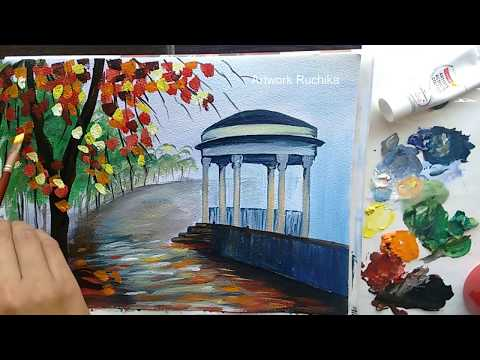 Scenery Painting with a Colourful Tree | Acrylic Painting