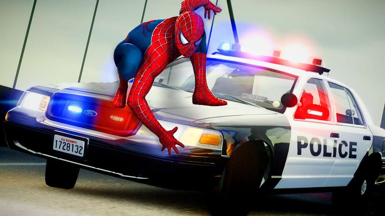 Policeman Spiderman Police Car Lightning McQueen Chase! Nursery Rhymes New Kids TV