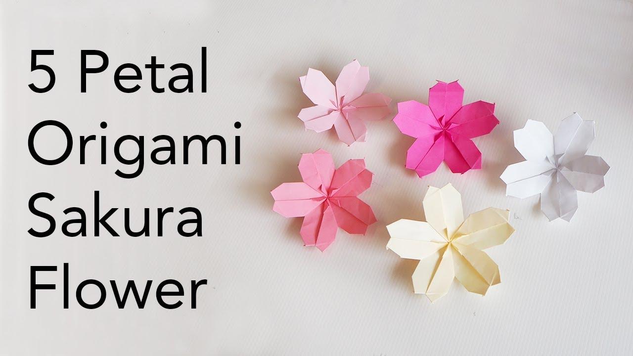 Easy Kids Origami 5 Petal Sakura Flower Tutorial Makoto Yamaguchi