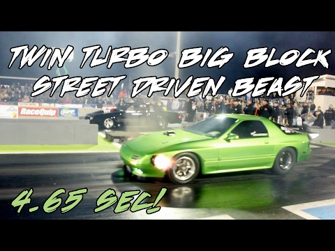 4.65 SEC TWIN TURBO BIG BLOCK MAZDA AT LIGHTS OUT 8!