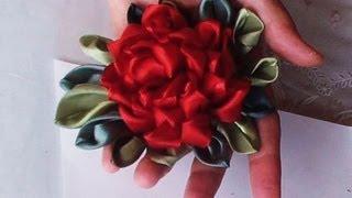 Фантазийный цветок из атласных лент. Часть1