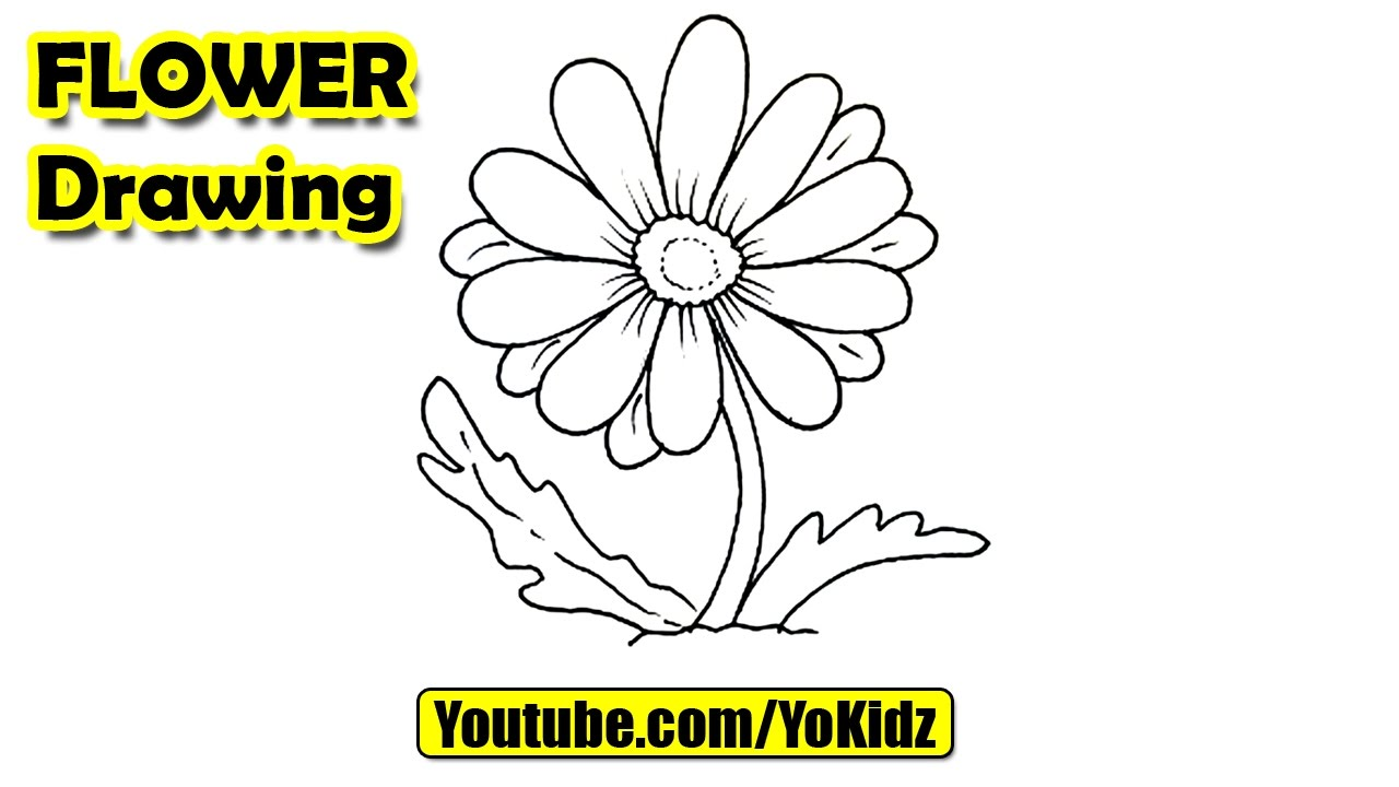 How To Draw A Flower For Kids Youtube