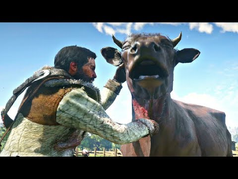 Red Dead Redemption 2 - Beating Up Cows & Horses Hate Sheep