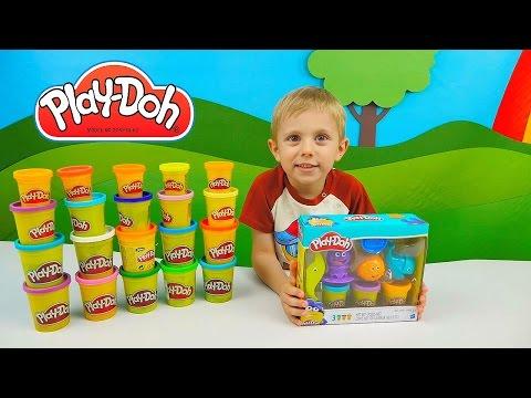 Play Doh весёлый детский пластилин - Лепим с Даником обитателей океана  Тесто Плей До