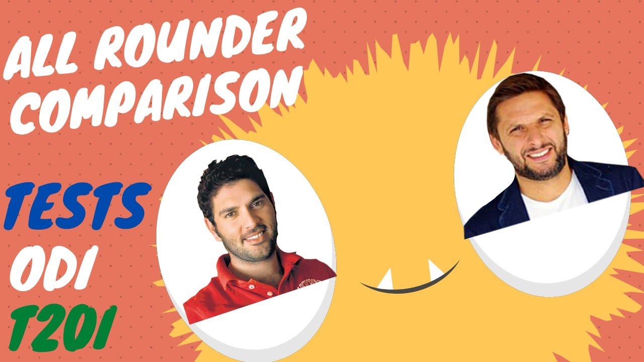 Yuvraj Singh Vs Shahid Afridi | All Rounder Comparison| Tests| ODI| T20I