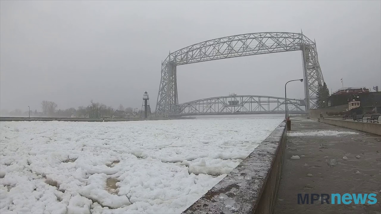 Ice And Slush Fill The Canal By Aerial Lift Bridge In Duluth