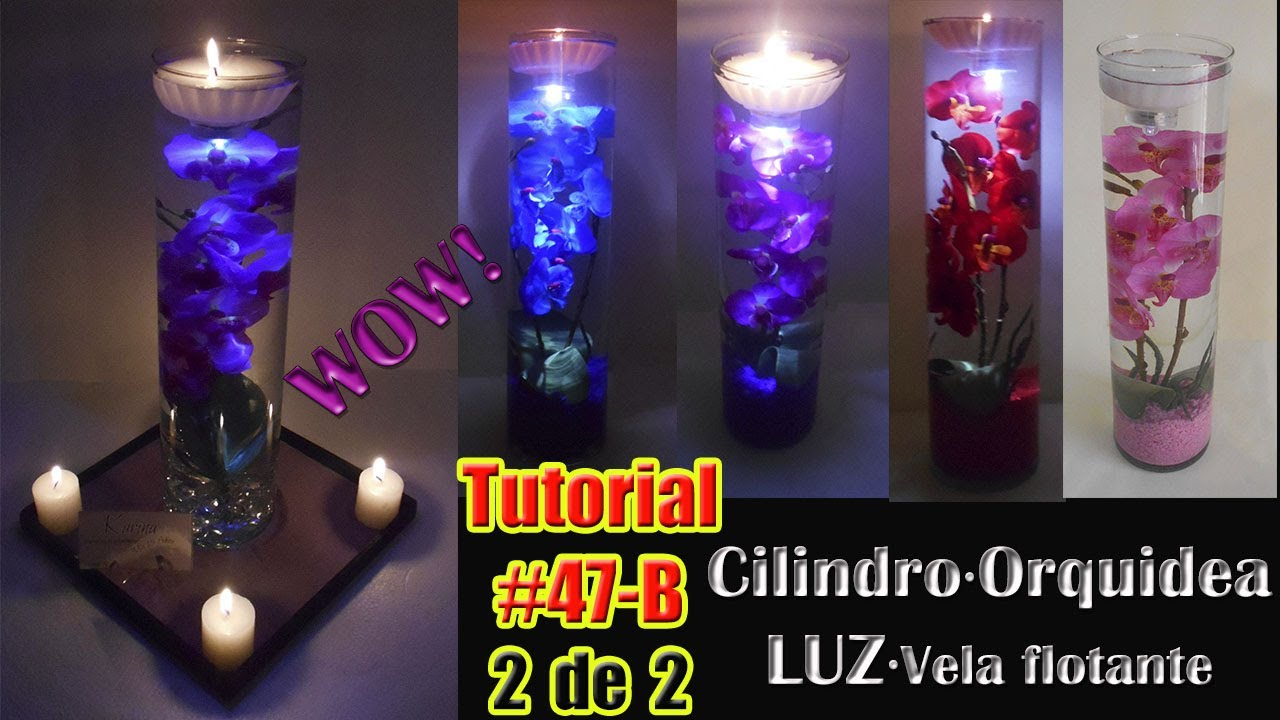 Centro de mesa flor sumergida con luz orquidea luminosa for Mesa de luz flotante
