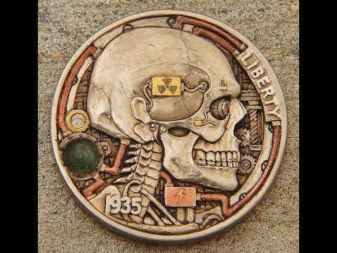 """Carving a hobo nickel coin Atompunk""""Fallout"""" skull coin"""