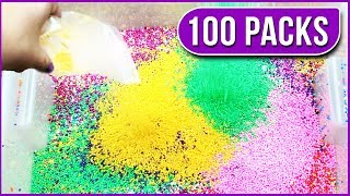 MIXING 100 PACKS OF FLOAM BEADS INTO FLUFFY SLIME! Giant Crunchy Slime