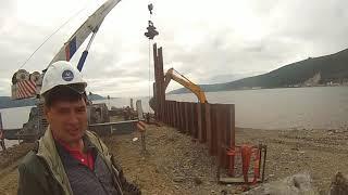 Magadan. Bu pier inspeksiyasi va Ta'mirlash. Iyul 31, 2019.