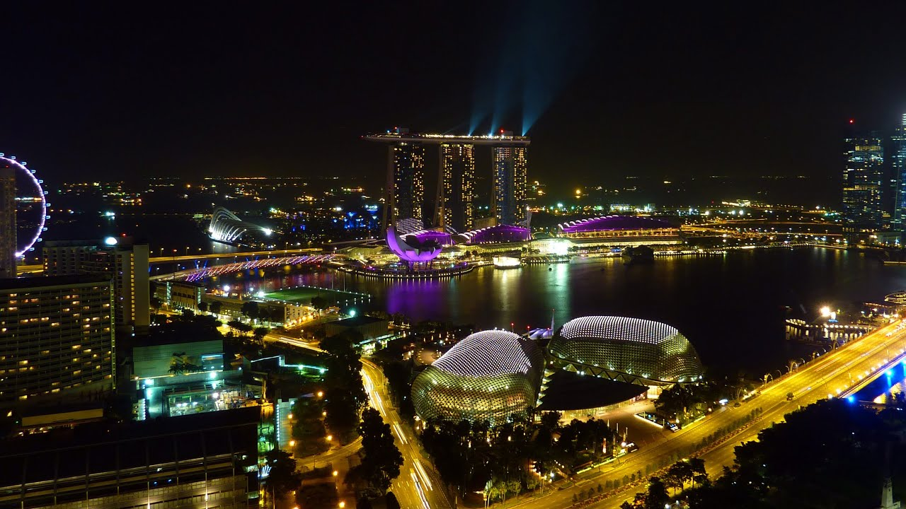 Marina Bay Singapore By Night Time Lapse With Wonder Full Light And Laser Sh